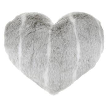"Deer Heart-Shaped Faux Fur Decorative Pillow 24"" X 20"""