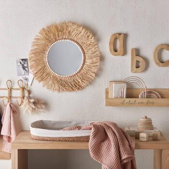 Round Raffia Mirror with Wooden Beads