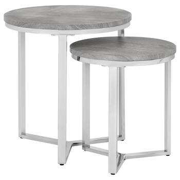 Set of 2 Veneer Side Tables with Chrome Legs