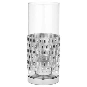 Lampe de table cylindrique en verre avec embellissements métallisés