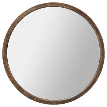 Miroir rond avec cadre en bois