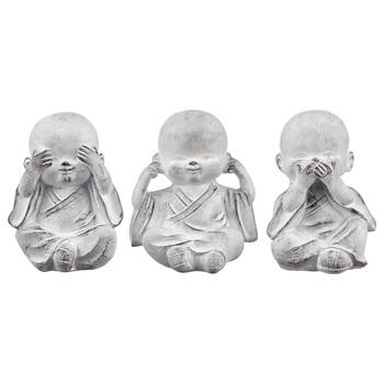 Three Wise Buddha Cement Statuettes