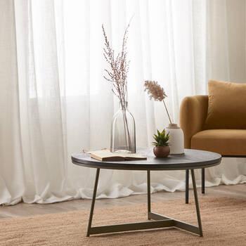Veneer and Bronze Coffee Table