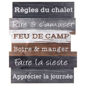 Règles du Chalet Wood Wall Art