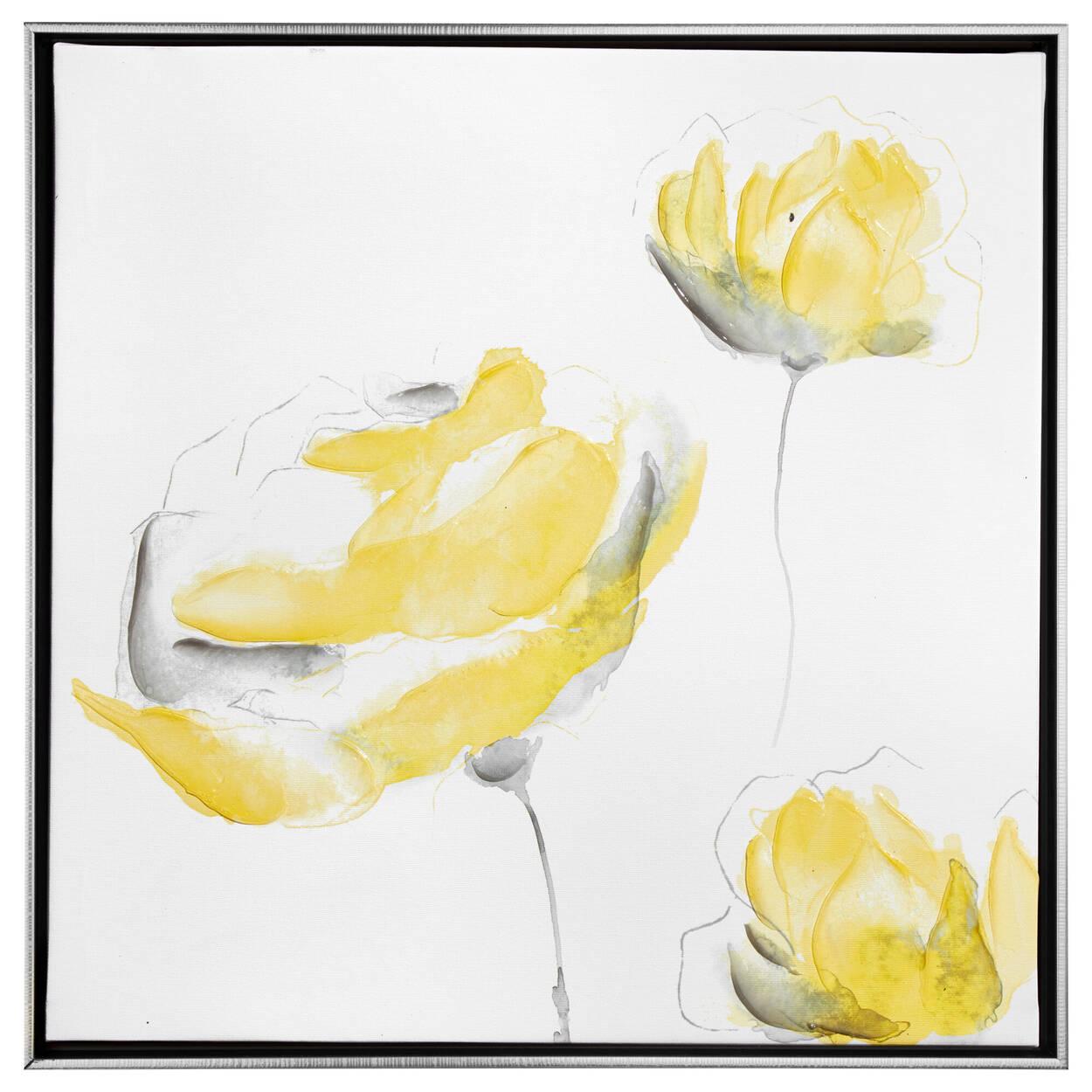 Framed Gel-Embellished Floral Printed Canvas