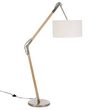 Lampe sur pied ajustable en bois naturel