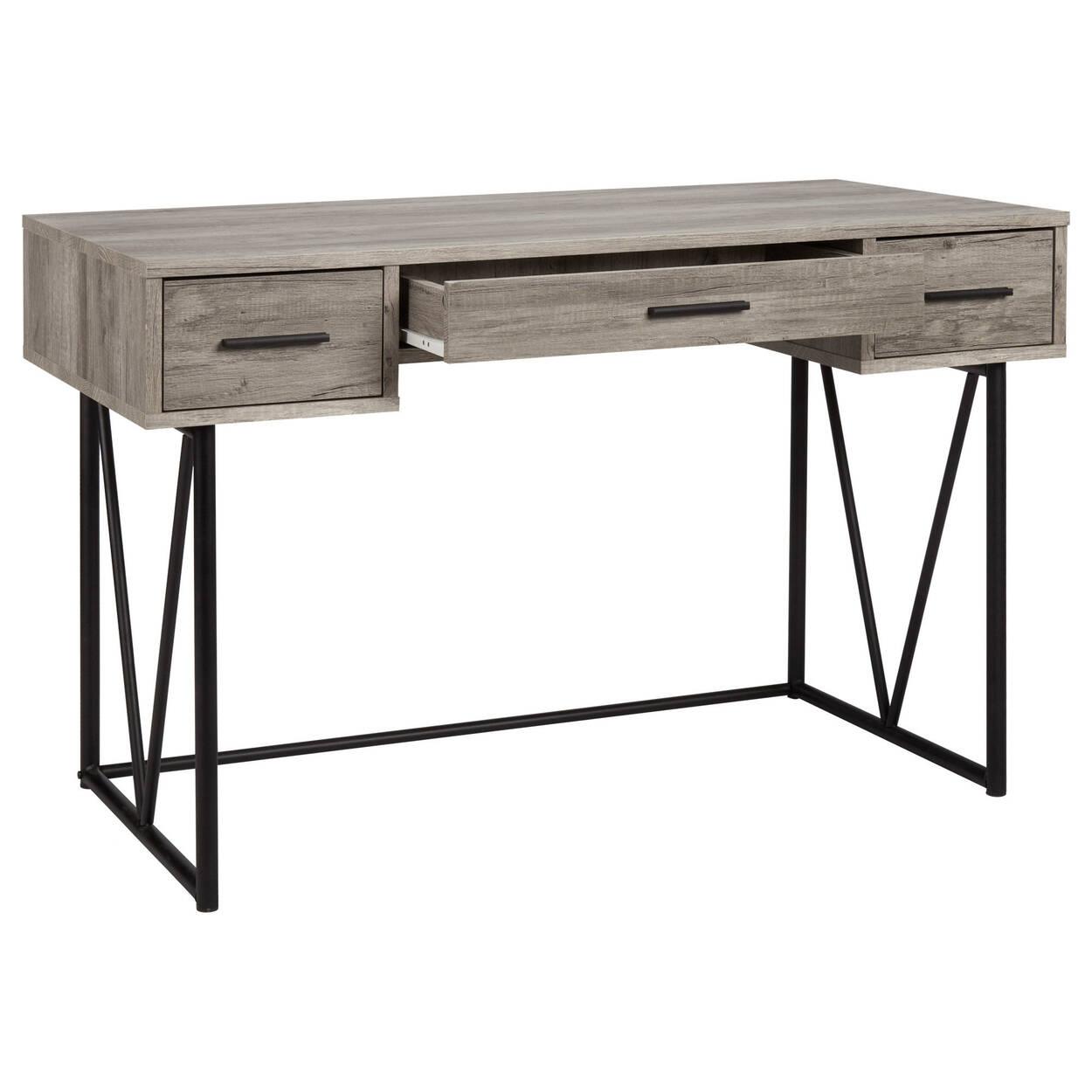 Bureau à trois tiroirs en placage et en métal