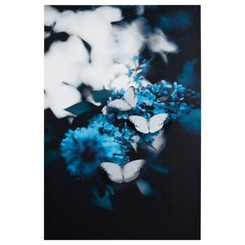 Blue Flowers and Butteflies Printed Canvas