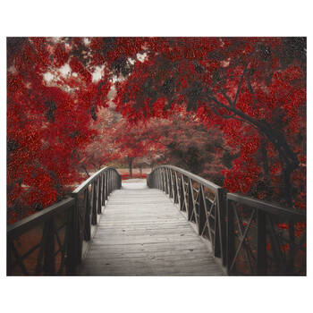 Red Forest Passage Printed Canvas with Gel Embellishment
