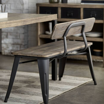 Solid Elm Wood and Metal Bench