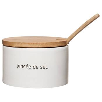 Pot à sel en céramique avec couvercle et cuillère en bambou