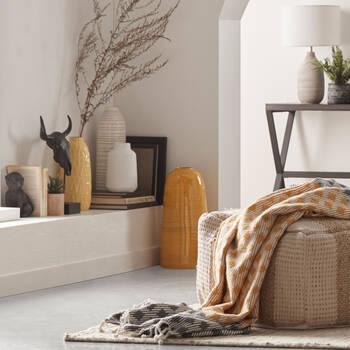 Yellow Bamboo Floor Vase