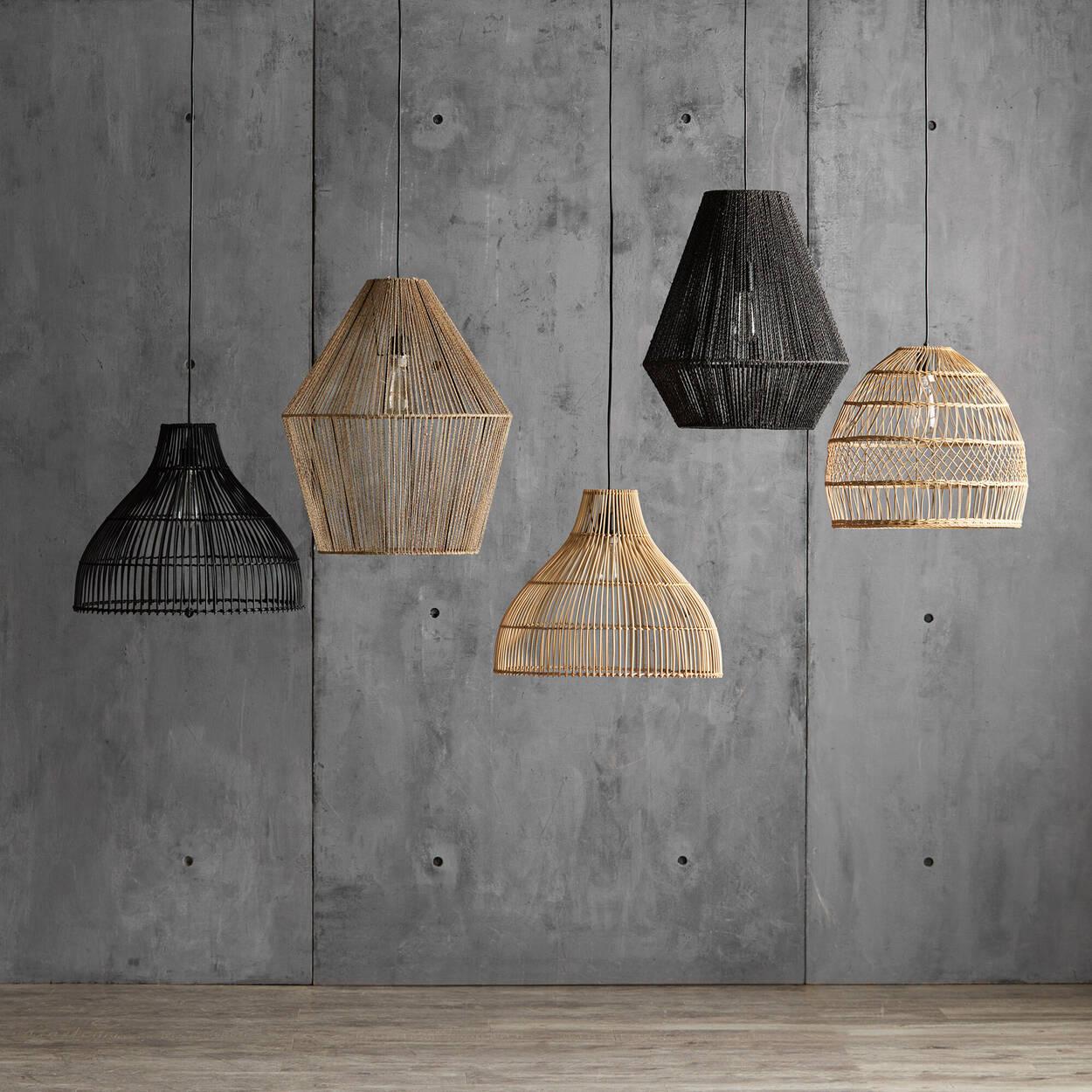 Lampe suspendue en corde de chanvre noire