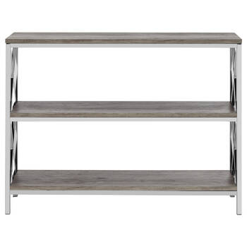 Three-Shelf Veneer and Metal Console Table