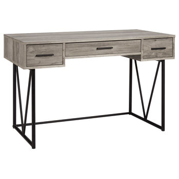 Wood Veneer & Metal 3-Drawer Desk
