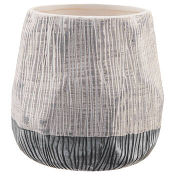 White and Silver Textured Vase