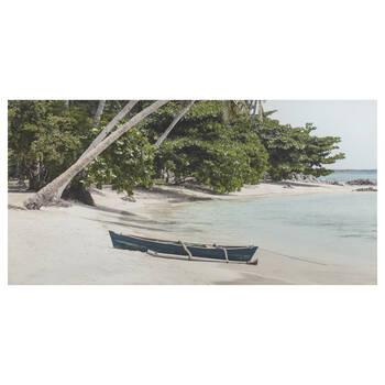 Canoe on the Beach Printed Canvas