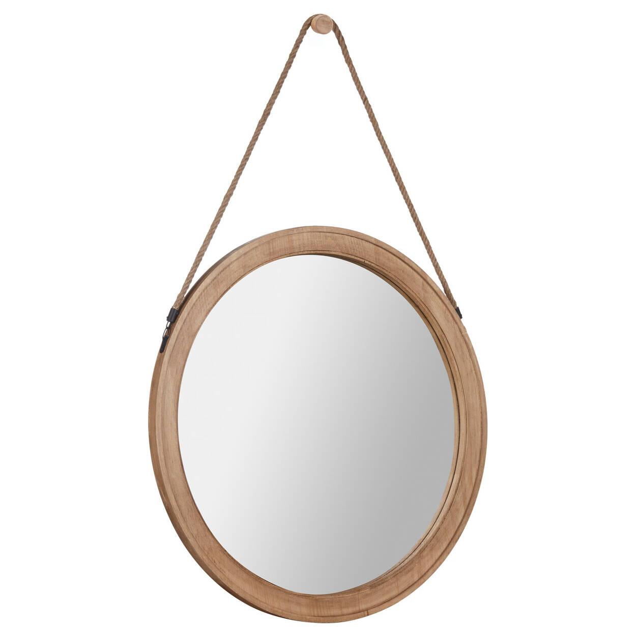 Miroir rond suspendu avec corde