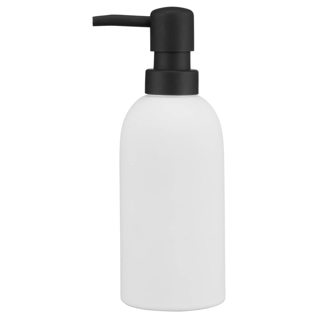 Rubber Coated Black and White Soap Dispenser