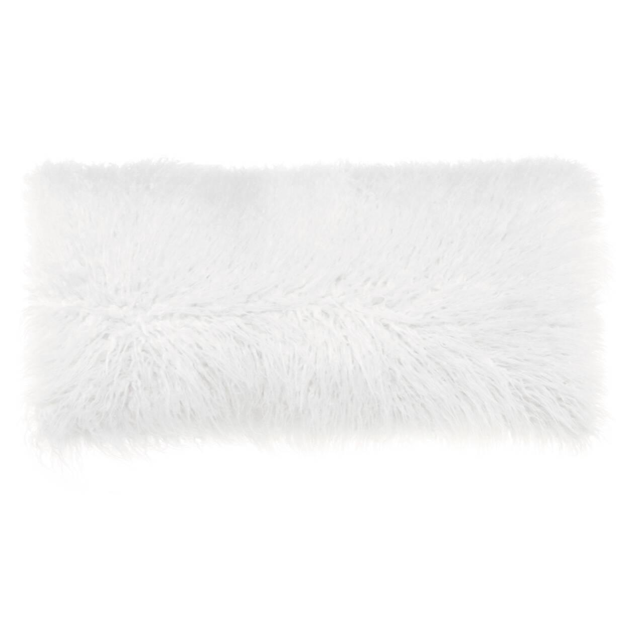 """Naadam Faux Fur Decorative Lumbar Pillow 15"""" X 32"""""""
