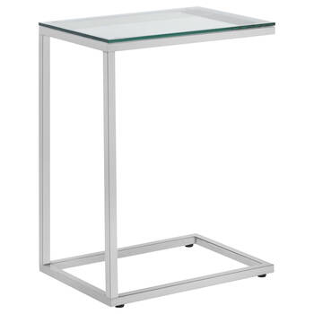 Side Table with tempered glass top and metal base