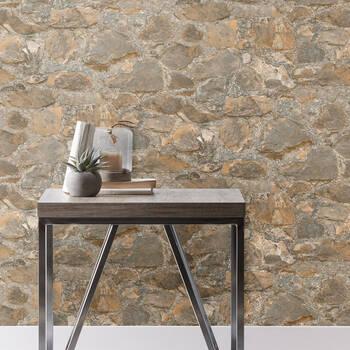 Papier peint avec motif de pierres - Rouleau double