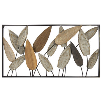 Art mural feuilles en métal et en bois
