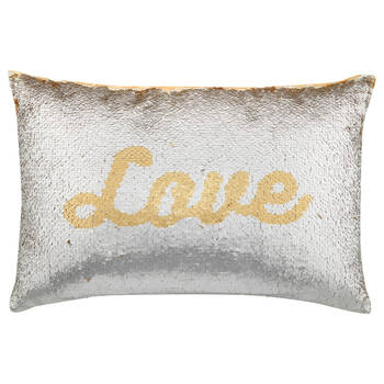 "Love Sequined Decorative Lumbar Pillow 13"" X 20"""