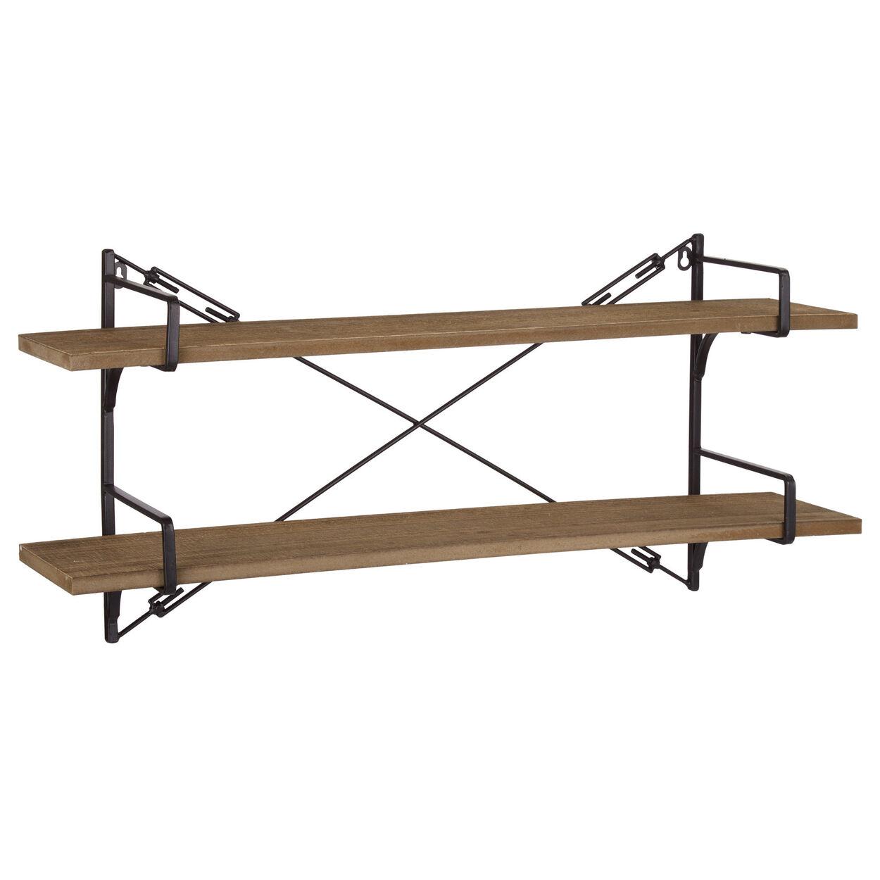Industrial Wood and Metal Wall Shelf