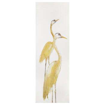 Gel-Embellished Yellow Cranes Printed Canvas