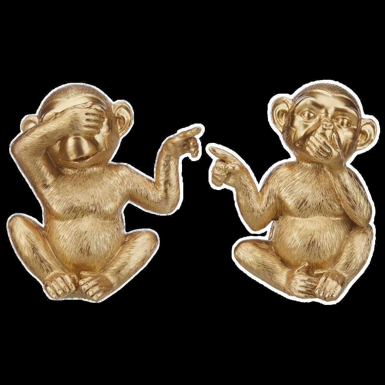 Ensemble singes décoratifs dorés Ce n'était pas moi 14 cm.