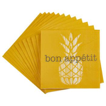 Set of 20 Pineapple Bon Appétit Table Napkins