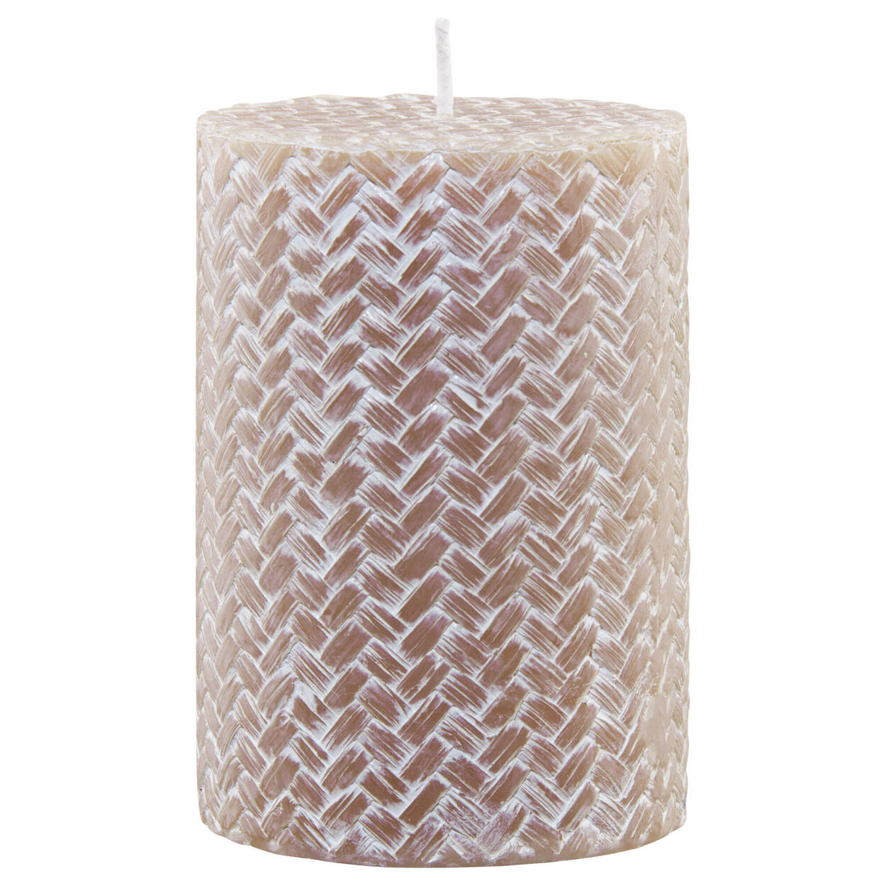 Pink Woven Pillar Candle