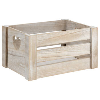 Small Wooden Crate with Heart-Shaped Handles