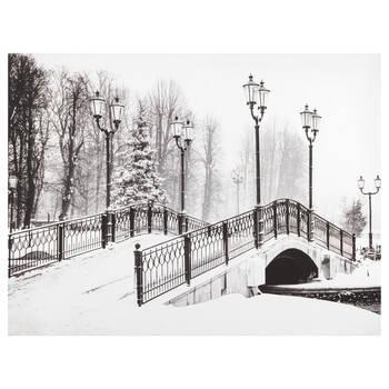 Tableau imprimé d'un pont en hiver