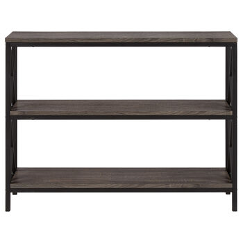 Three-Shelf Wood Veneer and Metal Console Table