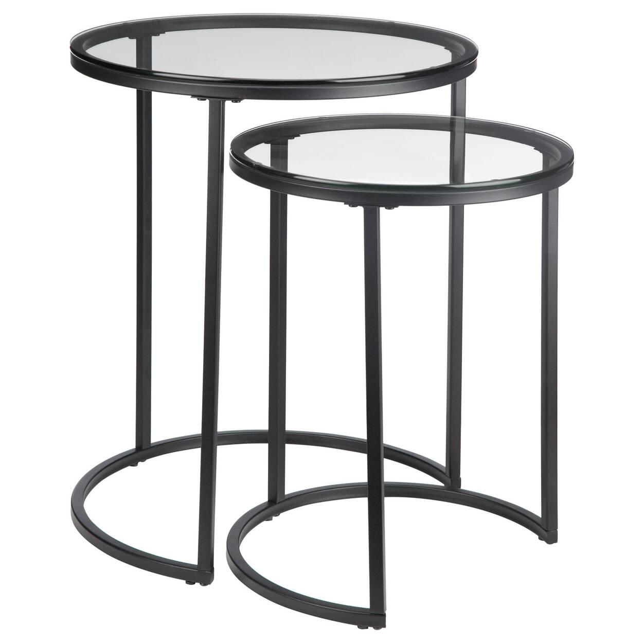 Ensemble de 2 tables d'appoint en verre avec pieds en fer