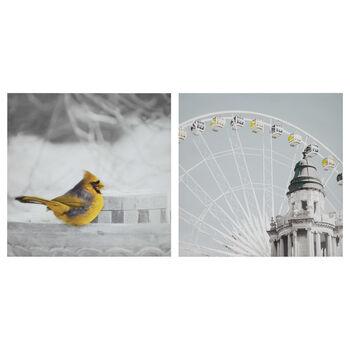 Ensemble de deux tableaux oiseau et carrousel