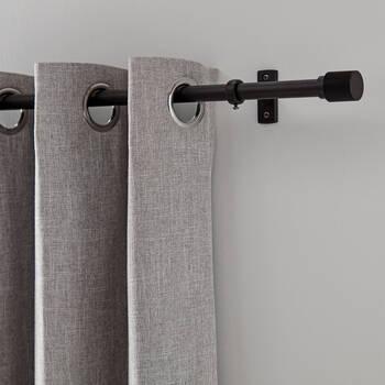 Chelsea Black Curtain Rod Set - Diameter 16/19 mm