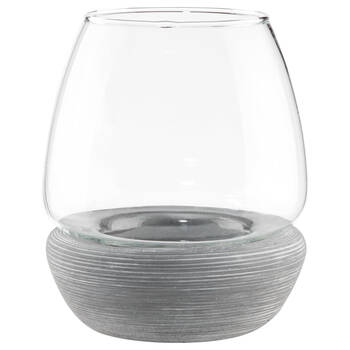 Small Glass and Cement Candle Holder