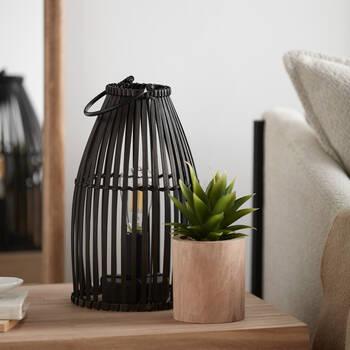 Black Rattan Lantern Table Lamp