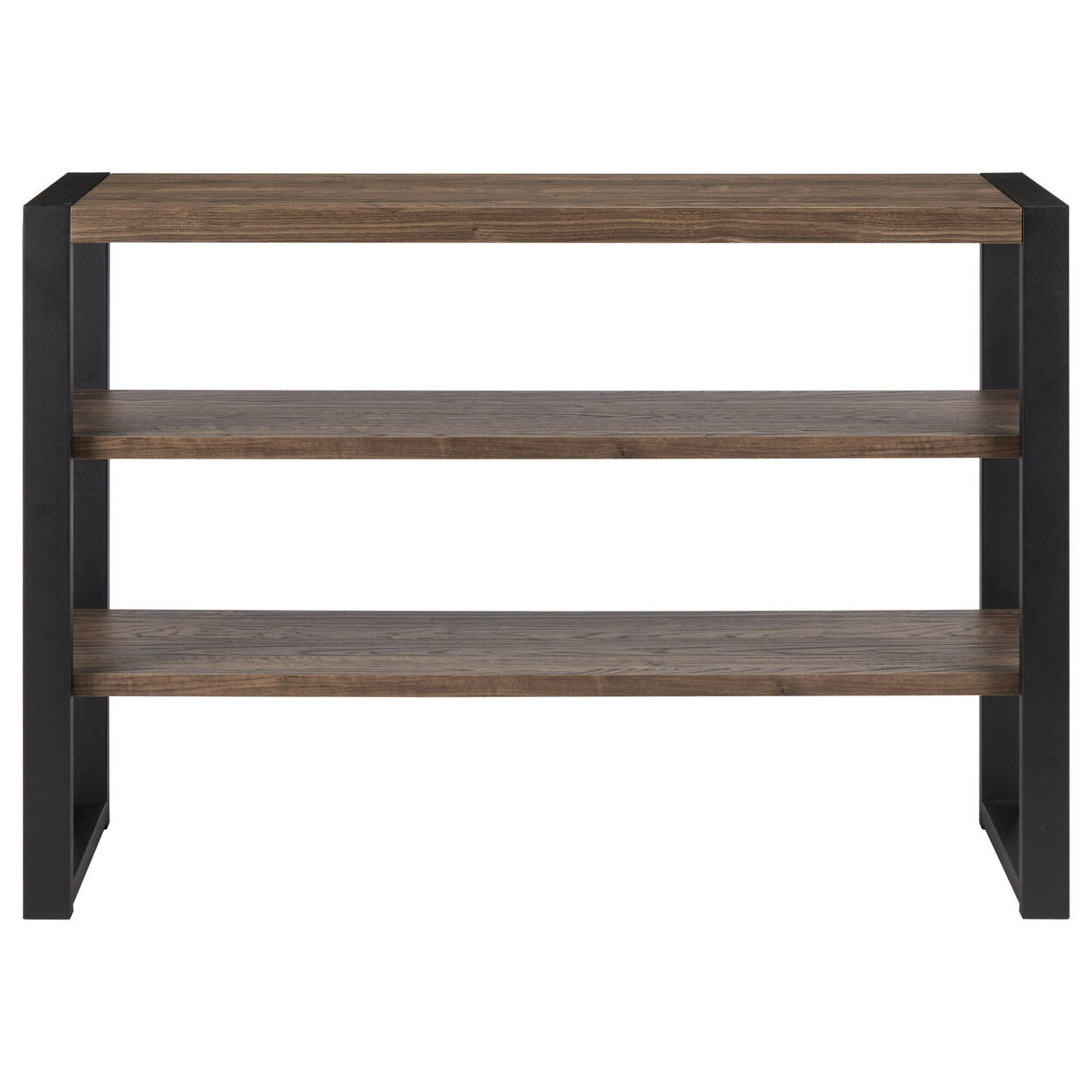 Three-Shelf Veneer and Iron Console Table