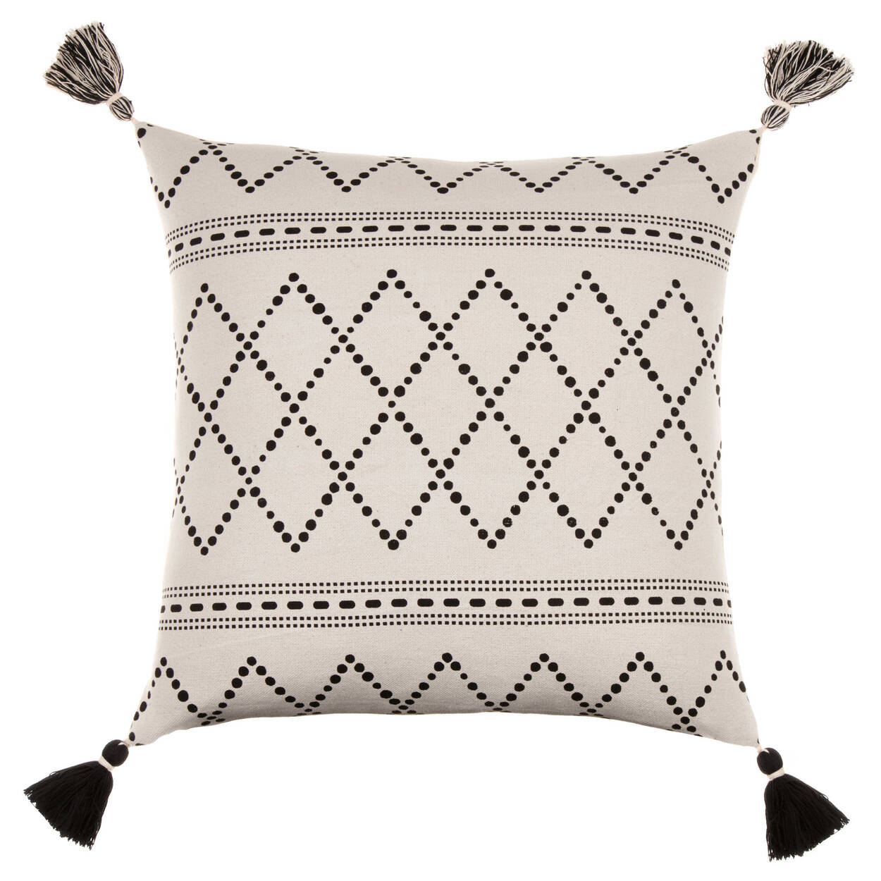 "Cora Decorative Pillow Cover with Pom-Poms 18"" X 18"""