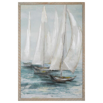 Sailboats Printed Framed Art with Gel Embellishment