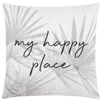 "Tropical Leaves and Typography Decorative Pillow 18"" x 18"""