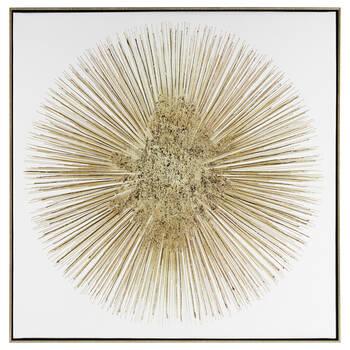 Gel-Embellished Gold Starburst Printed Canvas