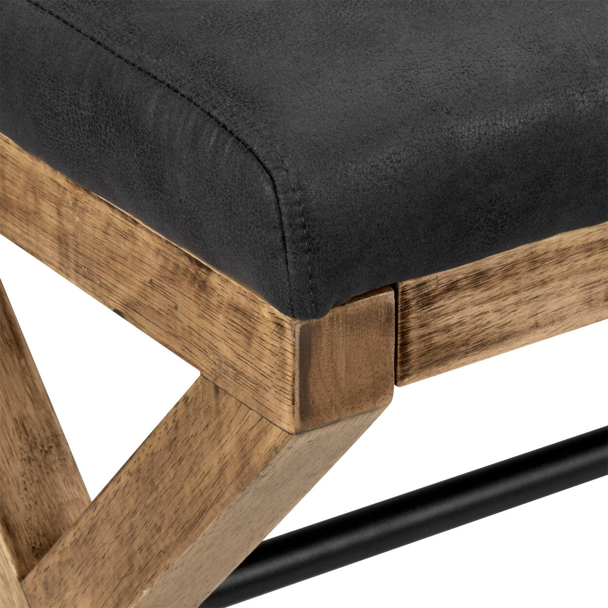Textured Faux Leather Bench With Wood Base