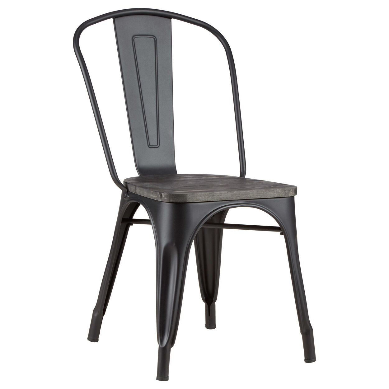 Solid Pine Wood and Metal Dining Chair