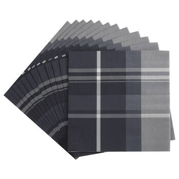 Pack of 20 Blue Plaid Napkins