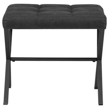 Tufted Faux Leather and Metal Bench